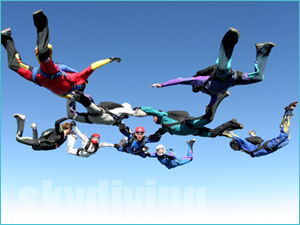 Skydiving group jump