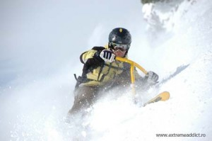 snowbike in powder